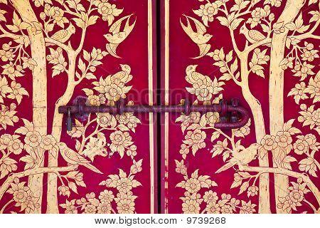 .wood Door Lock On The Red Background