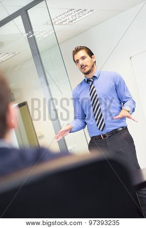 Business presentation on corporate meeting.