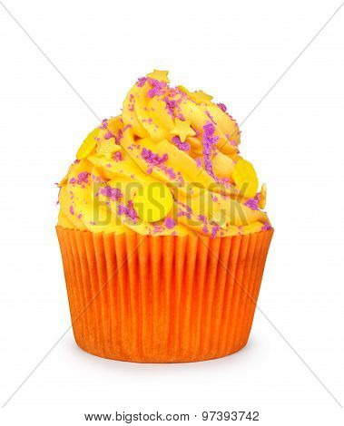 Yellow Cupcake With Violet Powder On An Isolated White Background