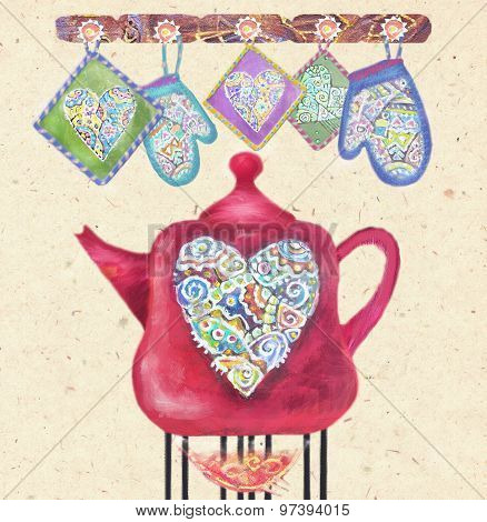 Beautiful Card With Red Teapot On The Fire,hearts And Potholders