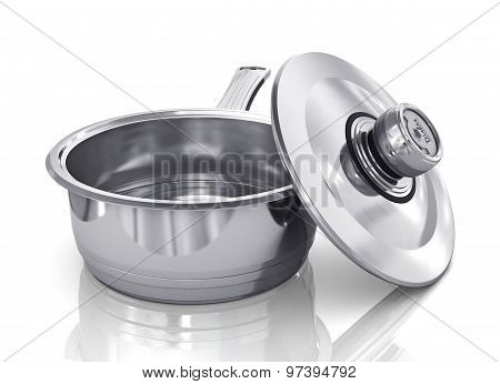 Stewpot Of Steel With Open Cap On The White Background.