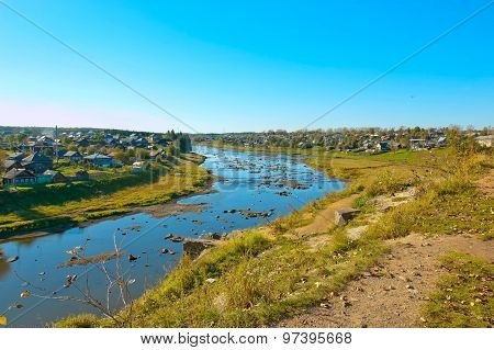 View of the River Tour and .Cities Verkhoturye Verkhoturye white stone from the territory of the Kre