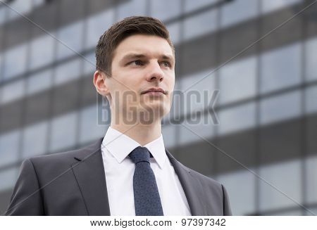 Young businessman in an urban setting