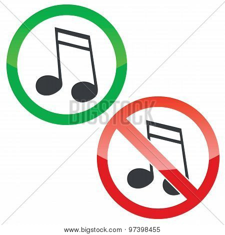 Music permission signs set 2