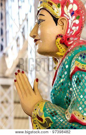 The Statue Of Praying  In Ngahtatkyi Pagoda Temple In Yangon, Myanmar (burma) They Are Public Domain