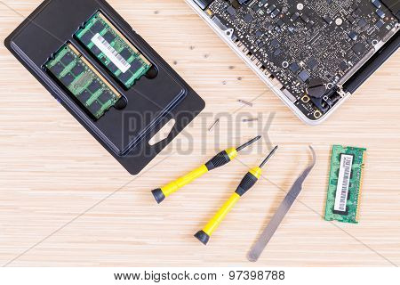 Technician Support Upgrade Part And Fixing Laptop.