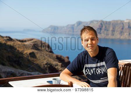Young Man in Santorini