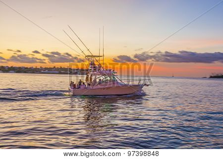 Motor Boat At Sunset In Key West