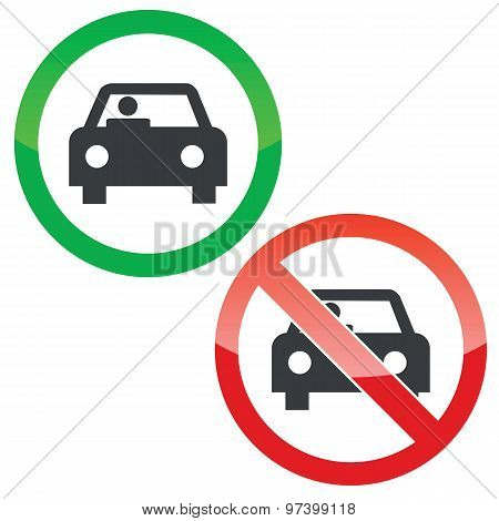 Car permission signs set