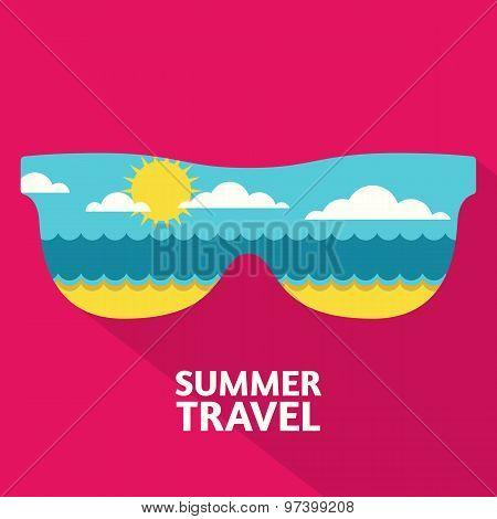 Vector Summer Travel Colorful Abstract Background With Place For Text. Blue Sea, Sun, Clouds And San