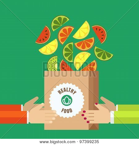Paper Shopping Bag With Sliced Fruits In Human Hands. Vector Icons Of Watermelon, Orange, Kiwi, Lime