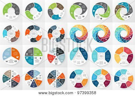 Vector circle arrows infographics bundle. Template for cycle diagram, graph, presentation and round