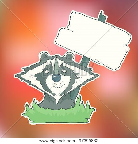 Cartoon Character Racoon with wooden poster Isolated on Color Blurred Background. Vector.