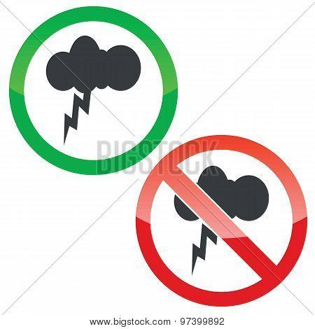 Thunderstorm permission signs set
