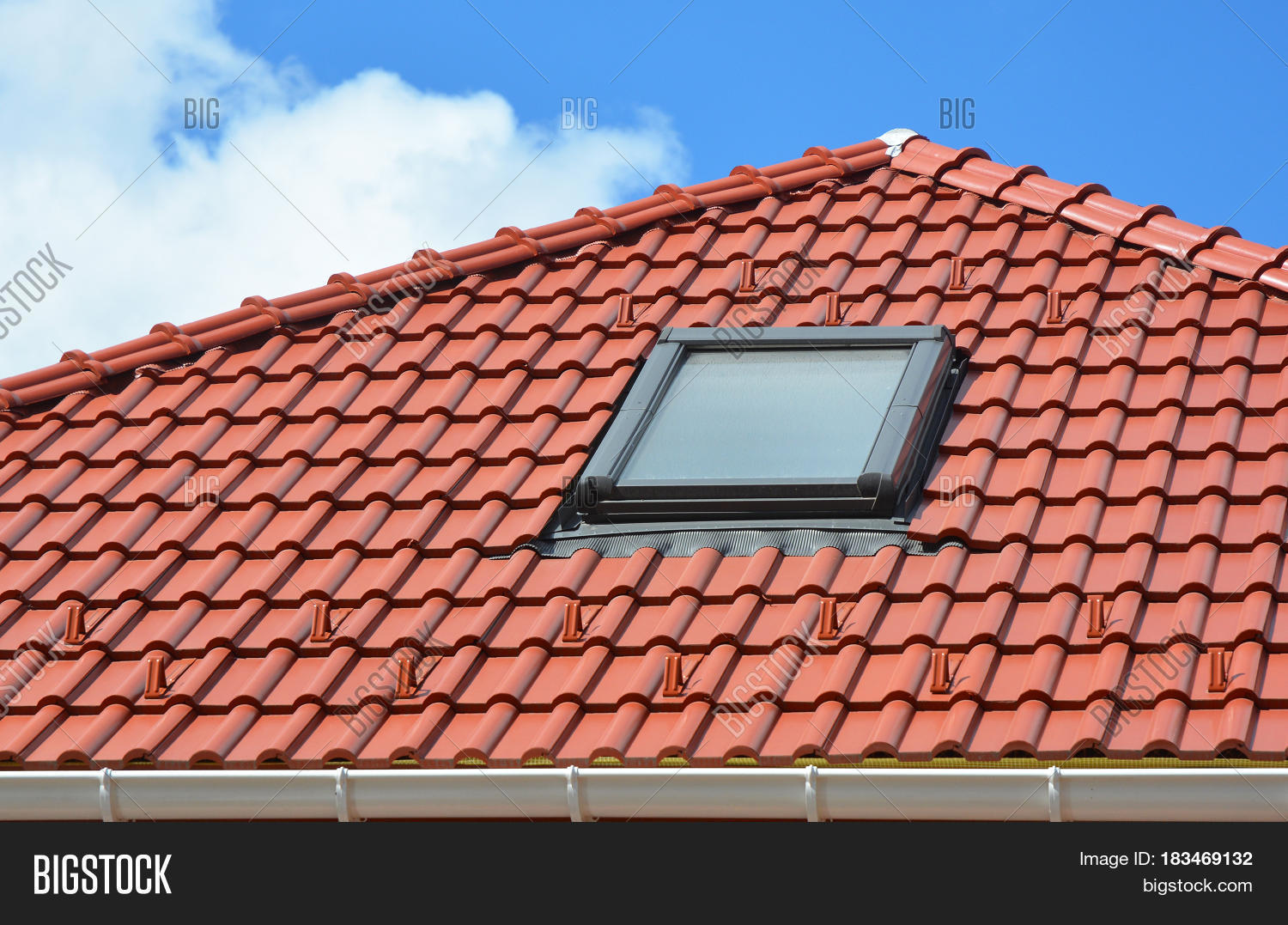 Skylight On Red Ceramic Roof Tiles House Roof. Modern Roof Skylight. Attic  Skylights Home