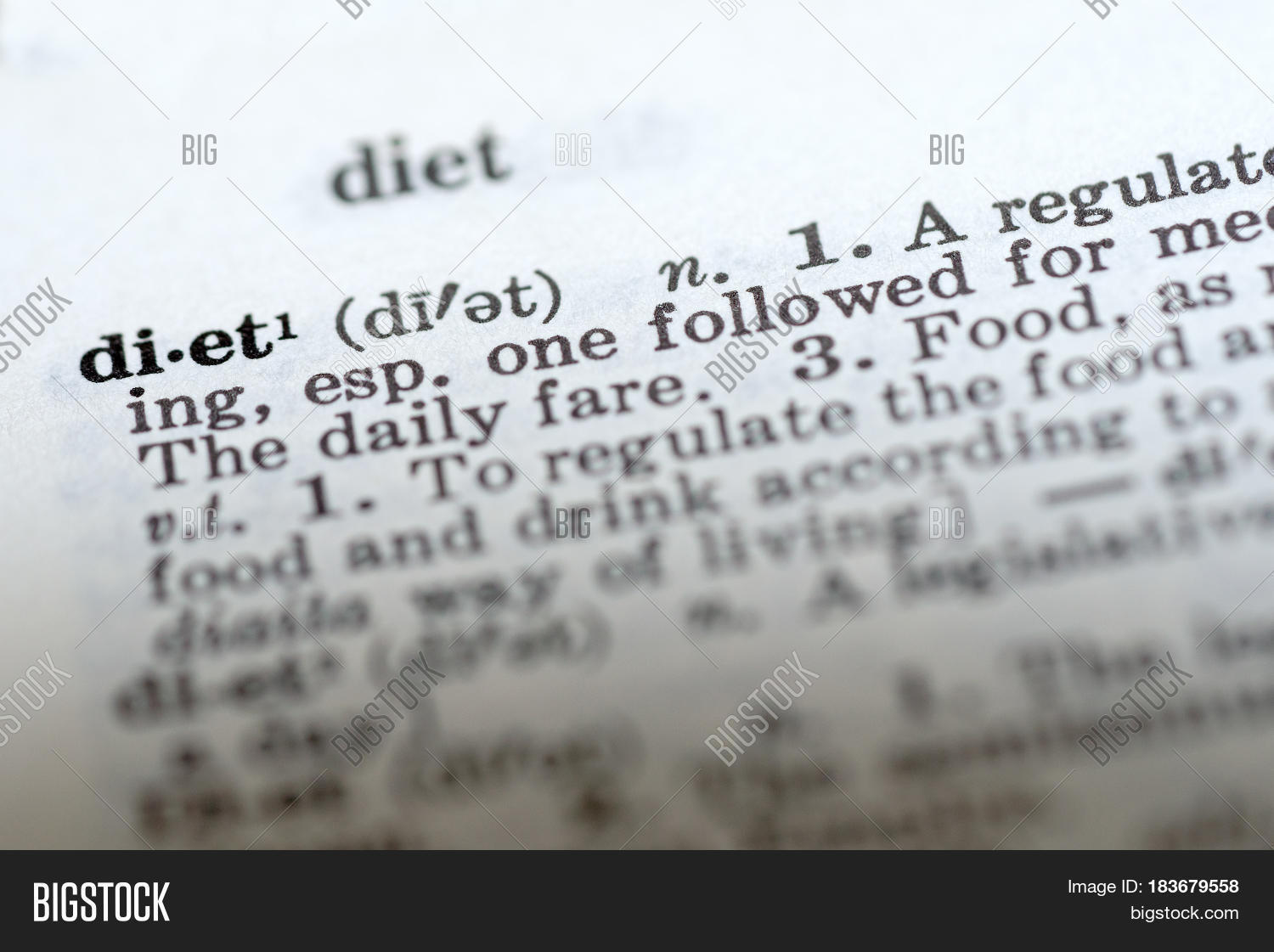 Definition Word Diet Dictionary Image & Photo | Bigstock