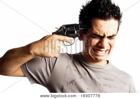 Man Trying To Make Suicide Isolated On White Background