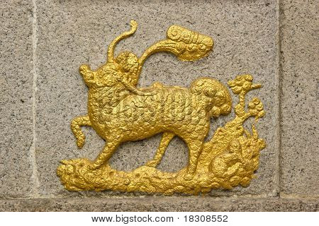 Chinese Unicorn(Qilin) On Temple Wall