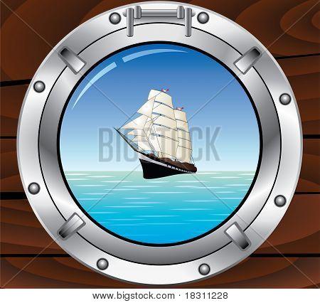 Olho de boi de metal e Tallship no Oceano