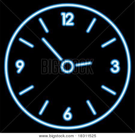 Vector Blue Neon Clock