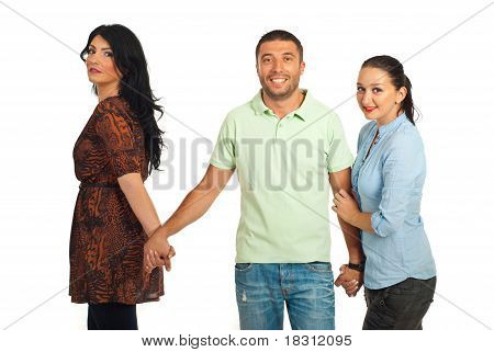 Unfaithful Man Between Two Women