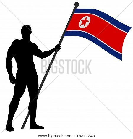 Flag Bearer North Korea