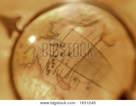 Vintage World Globe, Abstracted With Selective Focus