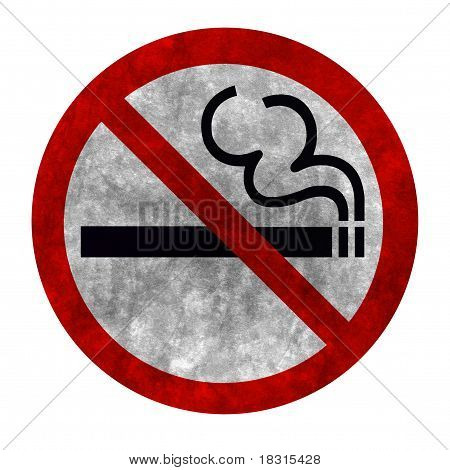 Grunge Style Symbol Of No Smoking Zone Sign Isolated On White With Clipping Path
