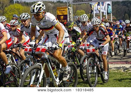 Muensingen, Germany - April 17, 2011 - MTB Bundesliga racing of Females Elite