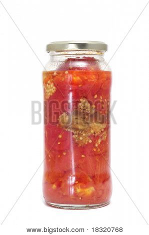 homemade canned vegetables on a white background
