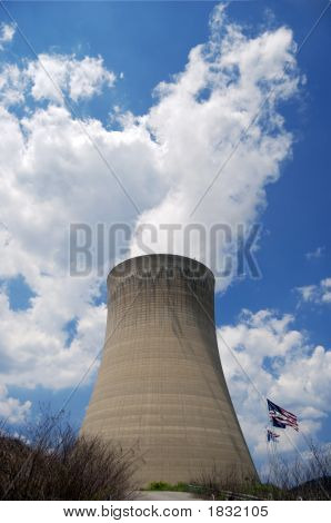 Nuclear Power With Us Flag