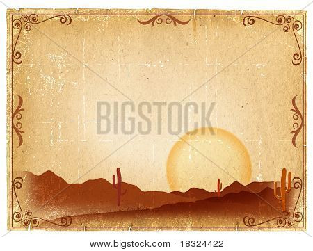 Desert Sunset With Cactus In Sunset On Old Vintage Paper Background