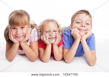 Happy children isolated on a white background