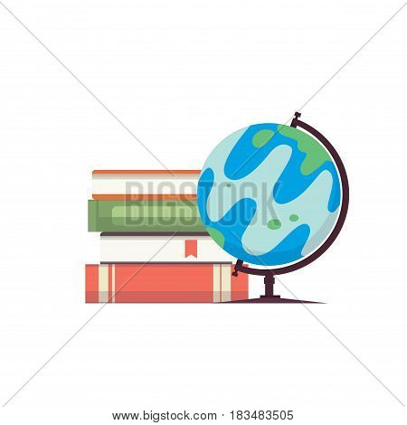 Cartoon globe vector illustration vector photo bigstock cartoon globe vector illustration world map on globe with books isolayed on white backgound eps10 sciox Images