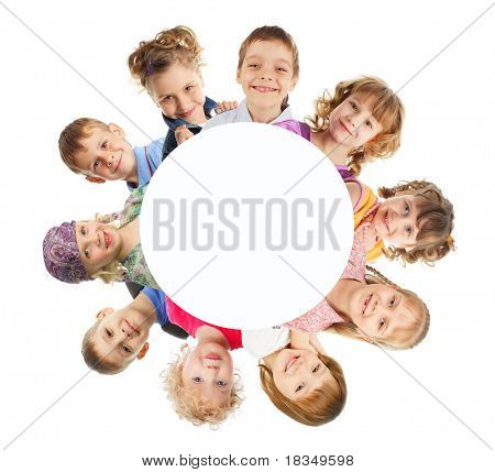 Group happy children isolated on white