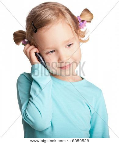 Child with phone isolated on white