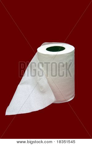 Toilet tissue isolated in a red background