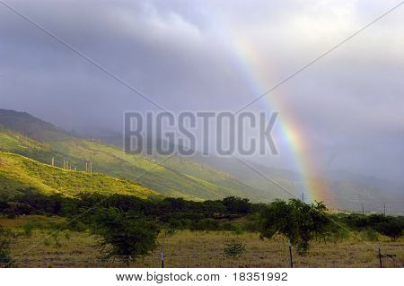 A beautiful tropical rainbow on a bright sunny day