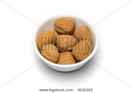 Bowl Of Walnuts On White I