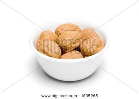 Bowl Of Walnuts On White Iii