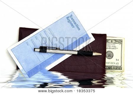 A Check book, transaction register and some money against a white background