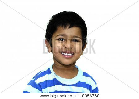 an handsome indian kid looking shy after a prank