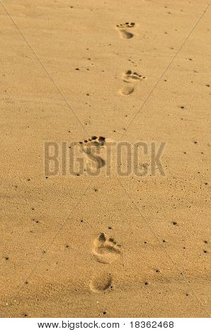 Set of footsteps on a beach sand