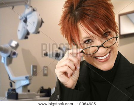 Opthomogist Or Optometrist In Exam Room