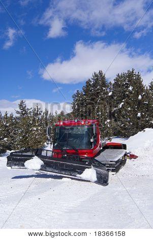 Crawler Ratrack Near Ski-route In Mountains