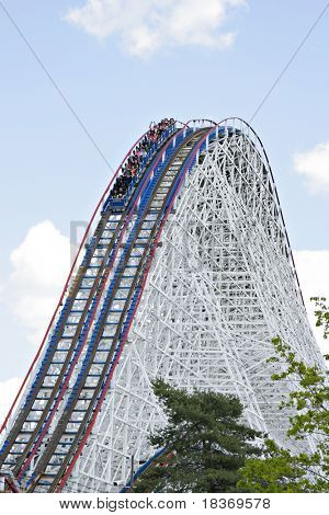 Huge roller coaster under blue sky