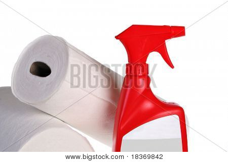 Cleaning Spray Bottle and Paper Towel