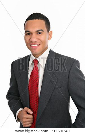 Smiling Young African American Male Portrait on Isolated Background