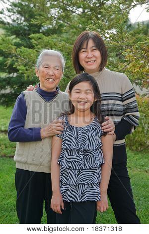 Grandmother, Mother, Daughter, Three Generations, Happy Family Portrait Outdoor