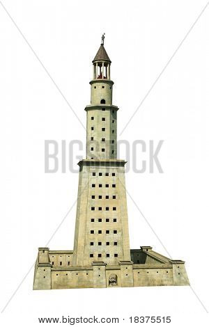 Lighthouse of Alexandria on Pharos island (The Seven Wonders of the World  )